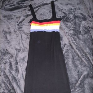 Black Skin tight dress with colors striped